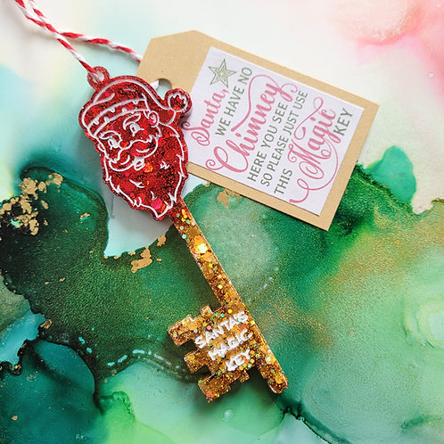 Handmade Santa's magic key, Red and gold glitter, Santa's key