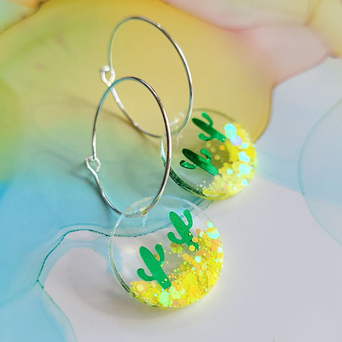 Handmade resin cactus scene charm hoop earrings with glitter