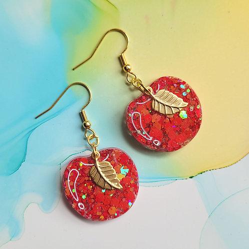 Handmade red glitter resin apple earrings with leaf charms,  dangle drop earring