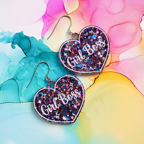 Handmade XL glitter resin heart earrings, Girl Boss, blue, pink and silver