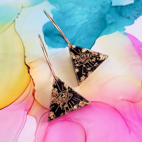 Handmade triangle mystical resin charm hoop earrings, black and gold leaf