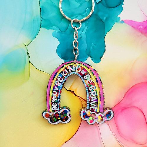Handmade rainbow glitter resin keyring, be you be kind be brave, positivity gift