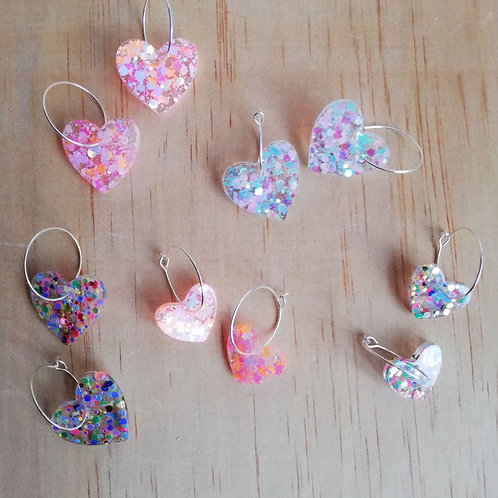 Handmade resin hoop heart earrings, glitter earrings, choose size and design