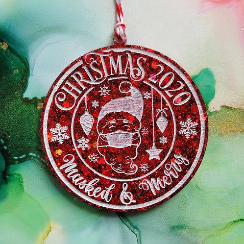 Handmade Christmas 2020 keepsake bauble, red glitter resin tree decoration