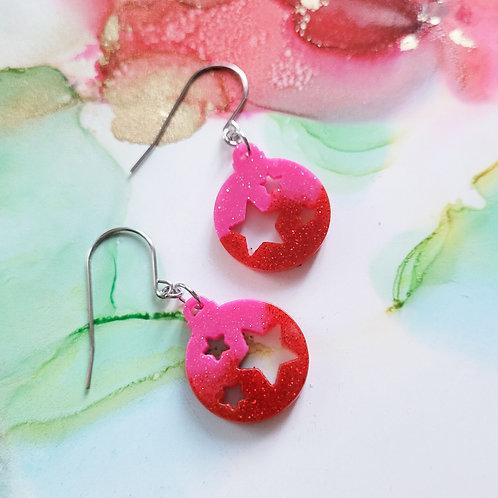 Handmade Christmas glitter bauble resin earrings, pink and red, festive earrings