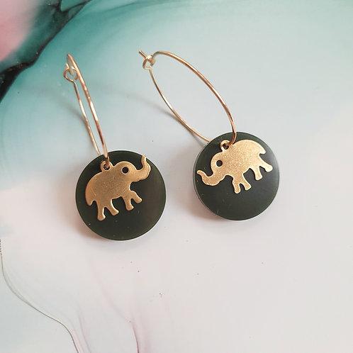 Handmade military green resin hoop earrings with brass elephant charms