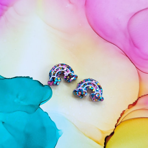 Handmade glitter rainbow resin stud earrings, hypoallergenic surgical steel