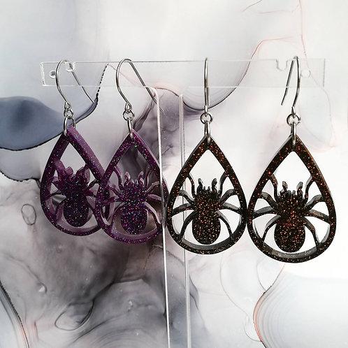 Handmade Halloween spider resin earrings, black or purple and glitter