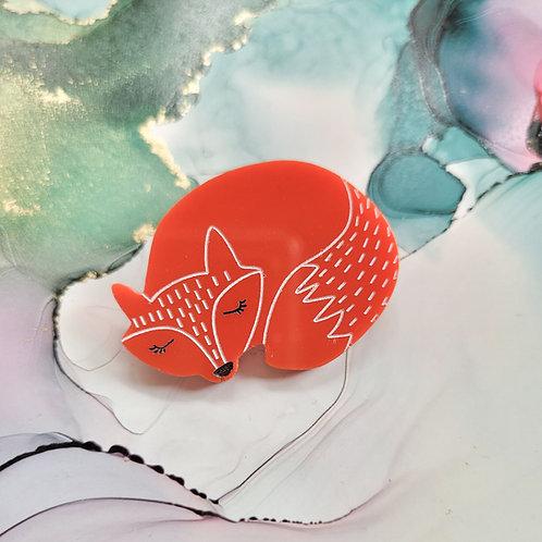 Handmade resin fox badge, hand painted