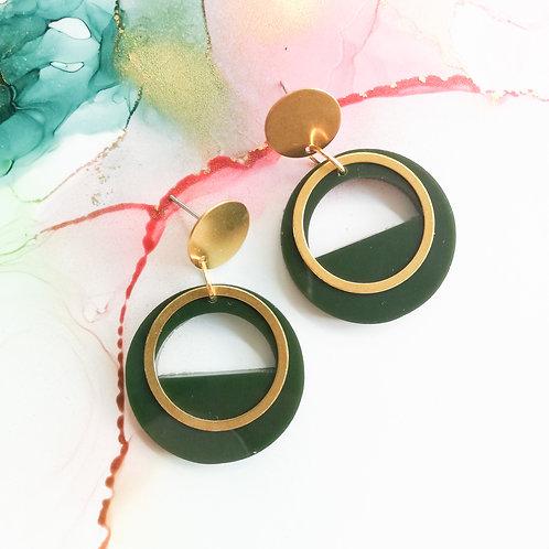 Handmade military green circle resin earrings with brass charm