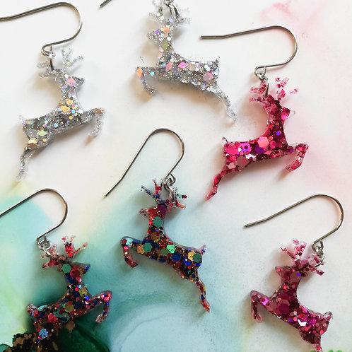 Handmade resin reindeer Christmas earrings, pink, silver or multicoloured