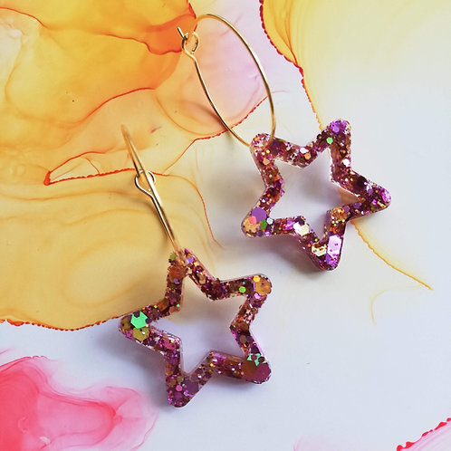 Handmade glitter stars resin hoop earrings, charm hoops, pink and gold