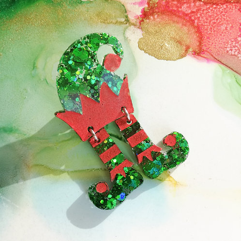 Handmade Christmas elf hat and dangle legs resin pin, green glitter and red