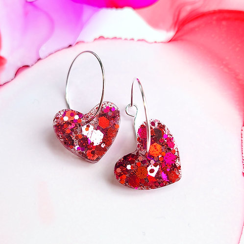 Handmade pink and red glitter resin hearts hoop earrings, silver plated hoops
