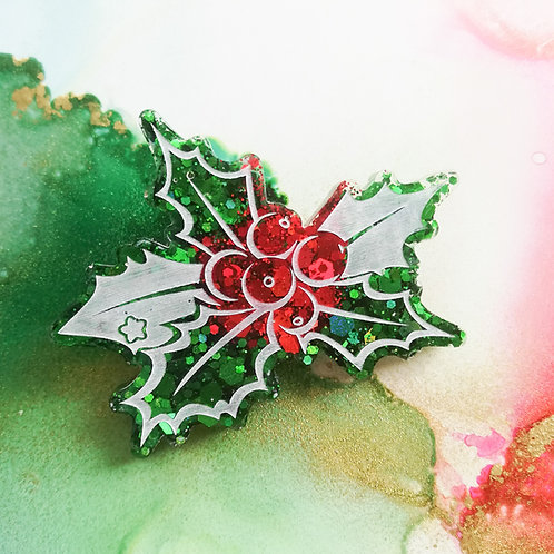 Handmade green and red glitter holly resin brooch, festive Christmas brooch