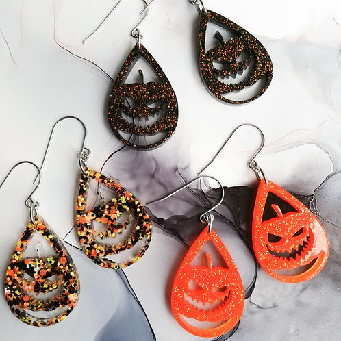Handmade scary pumpkin Halloween resin earrings, black, orange or glitter