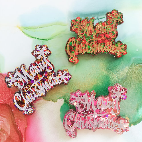 Handmade glitter Merry Christmas resin brooch, pink, red and green or multi