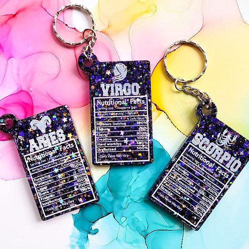 Handmade star sign glitter resin keyring, astrological keychain