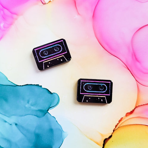 Handmade black resin cassette tapes stud earrings, hypoallergenic