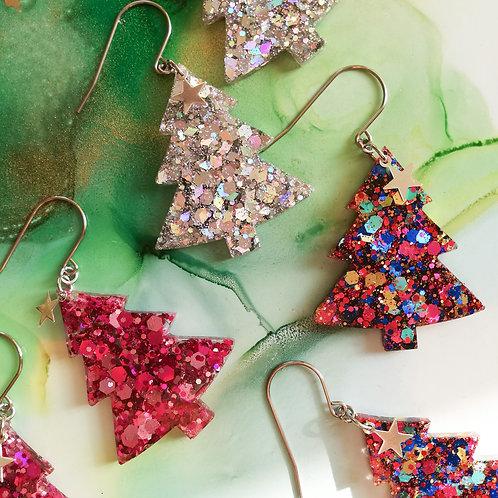 Handmade dangle drop resin Christmas tree glitter earrings, star charm