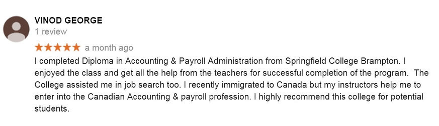 Accounting & Payroll course Student review