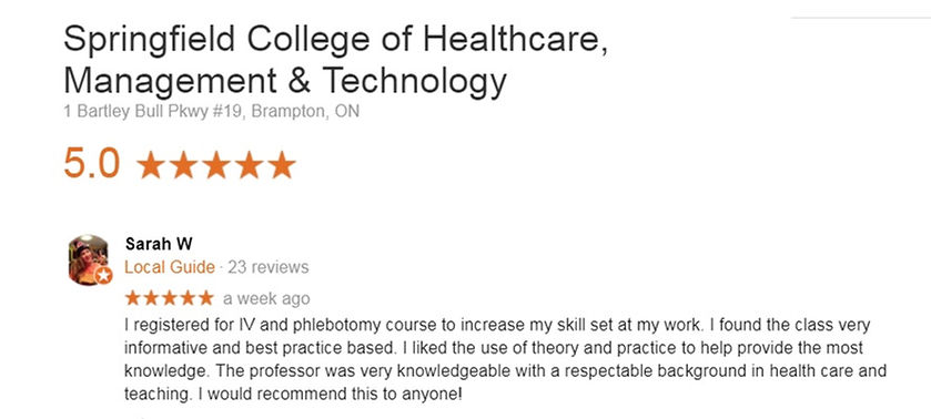 Phlebotomy certificate Student review