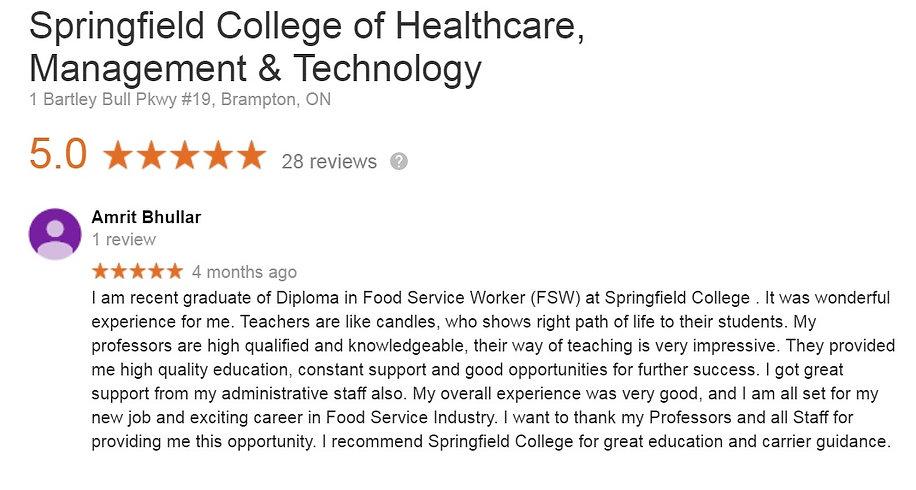 Food Service Diploma Student Feedback