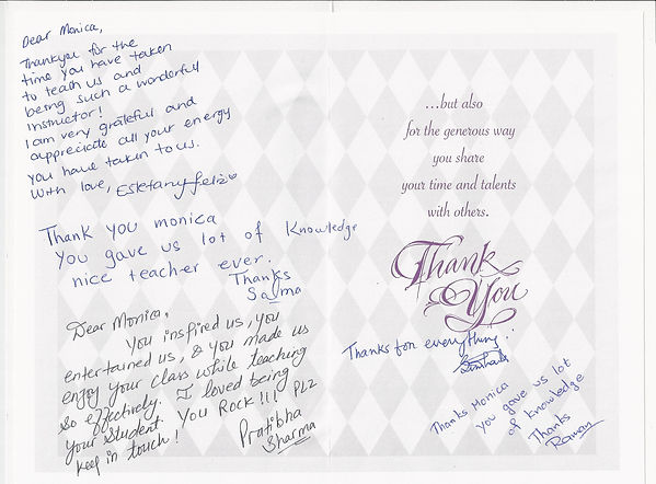 Thankyou card by MOA class students