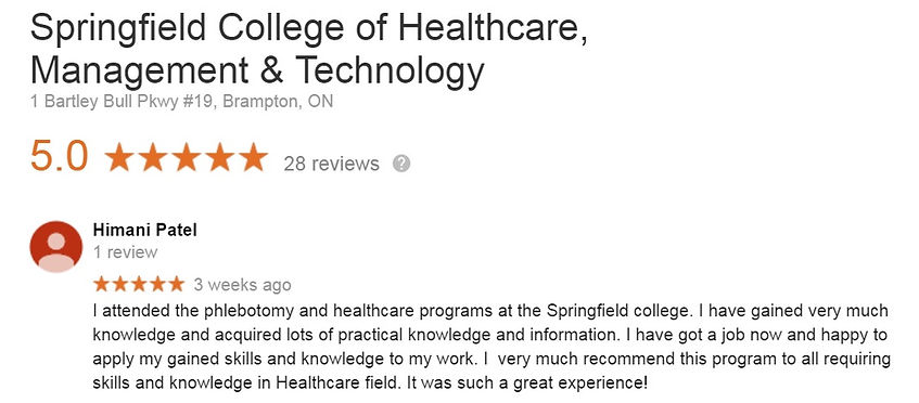 Springfield College Phlebotomy Student testimonial