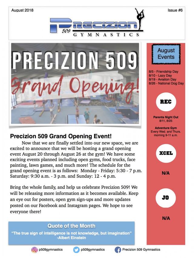 August 2018 Newsletter Pg. 1