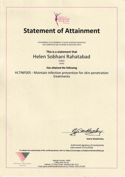 Certificate for Maintaining Infection Prevention for Skin Penetration Treatments