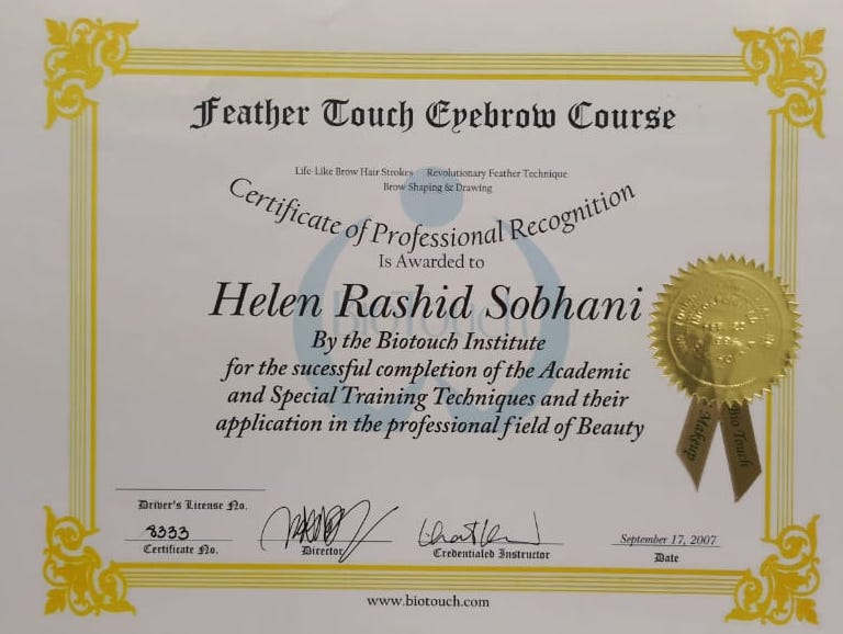 Feather Touch Eyebrow Certification