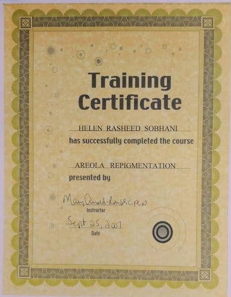 Areola Repigmentation Certificate