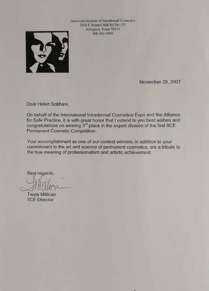 Permanent Makeup Award Letter
