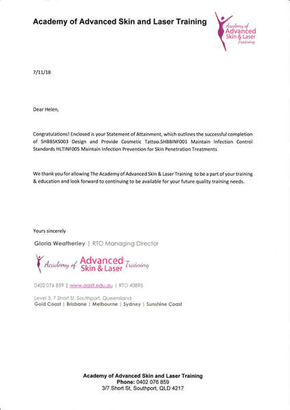Australia Cosmetic Tattooing Letter