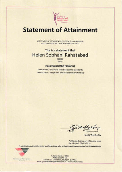 Cosmetic Tattooing & Maintaning Infection Standards Certificate