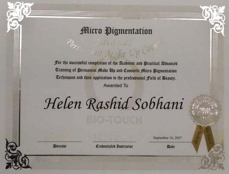 Advanced Permanent Makeup Course Certificate