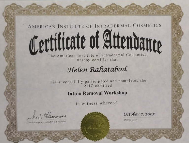 Cosmetic Tattooing Removal Certificate
