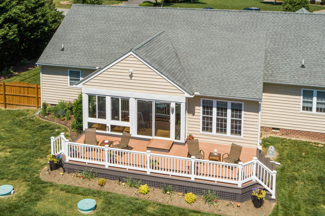 Sunroom and Deck Outdoor Living space