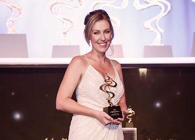 Lara Quinn receiving ABIA Award for 2017 Australian Bridal Makeup Artist of the year
