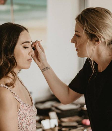 Lara Quinn during Bridal makeup prep on the wedding day