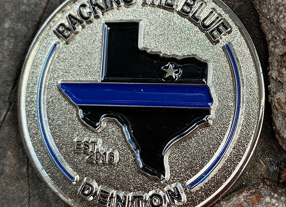 Backing The Blue - Denton Challenge Coin