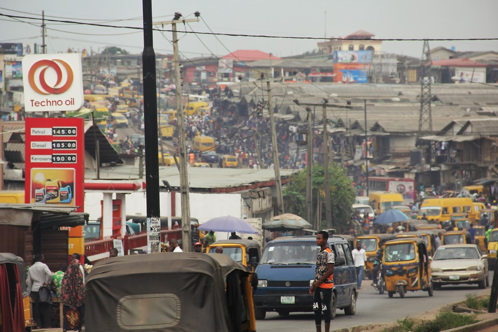 (The main street of Lagos exiting west)