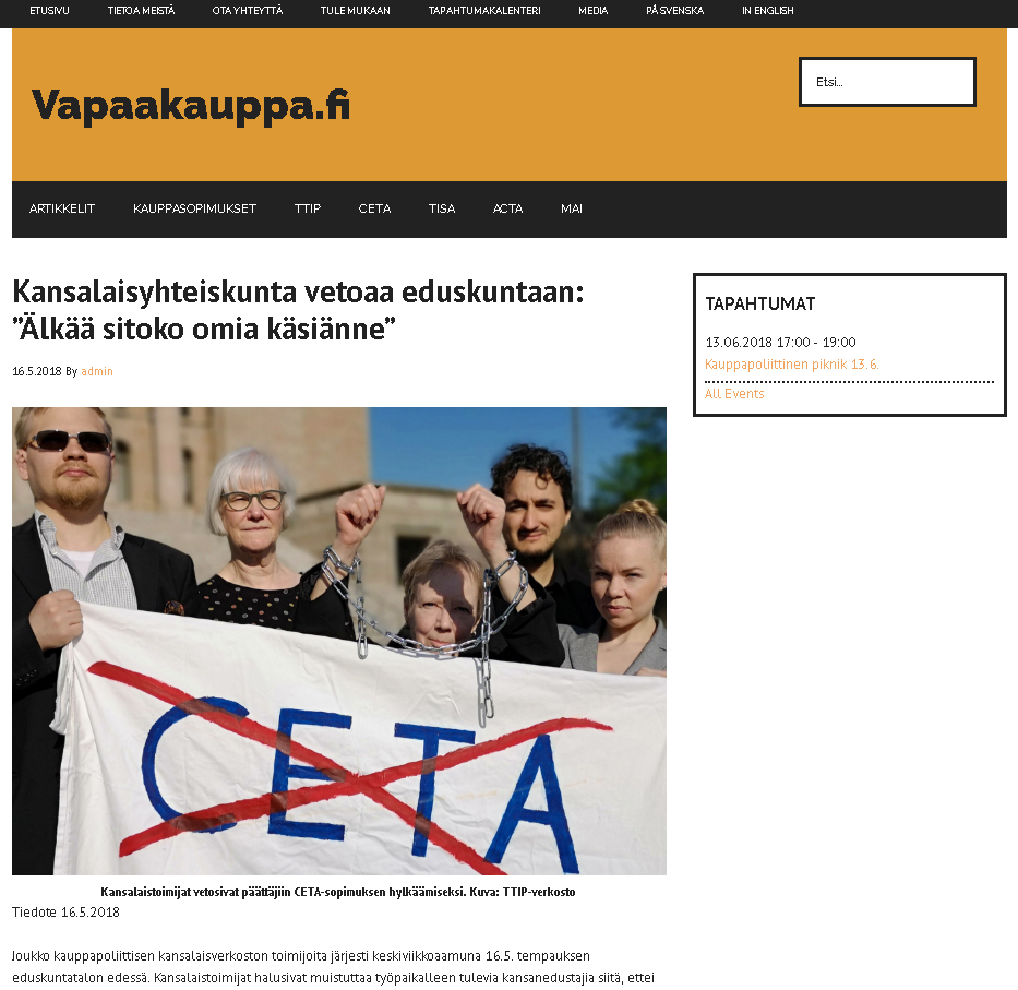 CETA article on vapaakauppa fi