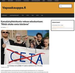 CETA article on vapaakauppa fi