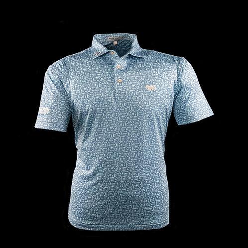 Scotty Dog Tour Tech Stretch Fabric Bourbon Street Print Polo (Lake Blue)
