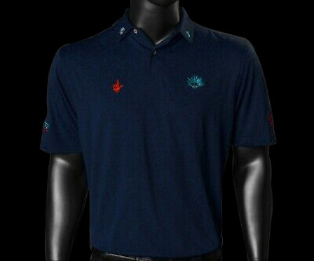 Agave Man Plus Carl Agave Plaited Jacquard Navy Polo