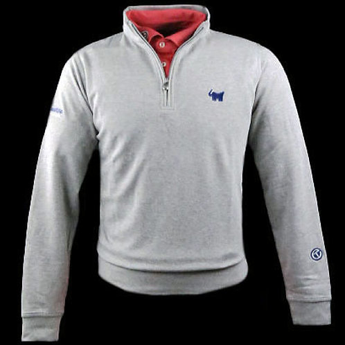 Scotty Bulldog Sweater Qtr Zip  (LT Grey)