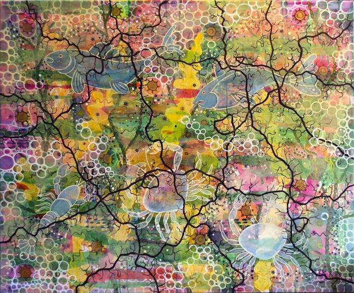 Ghost Crab, Acid Ocean. 120 x 100cm