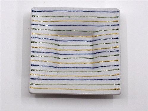 ストライプ-青 まめ皿